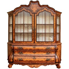 Early Dutch Bombé Marquetry Display Cabinet
