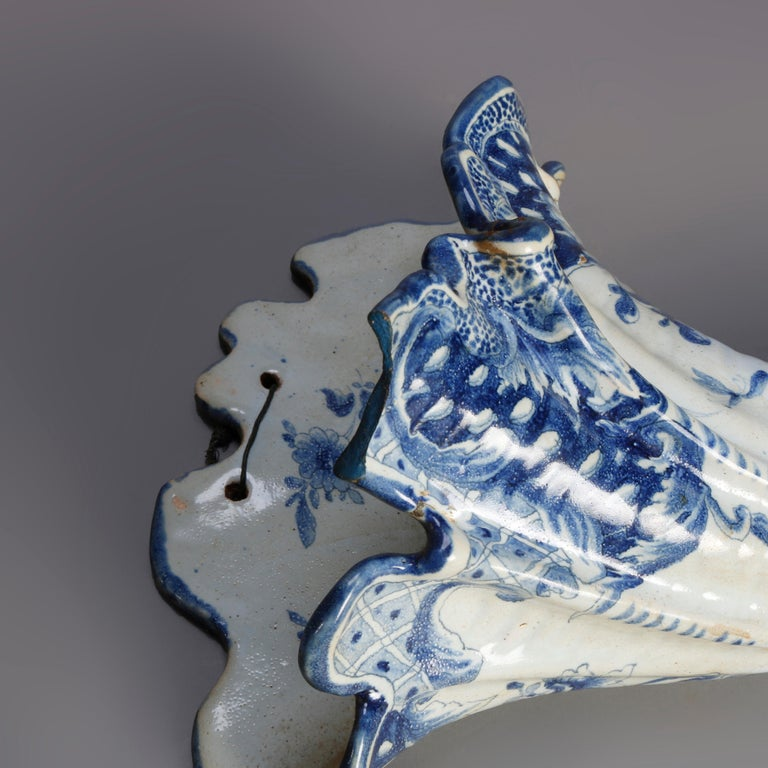 Hand-Painted Early Dutch Delft Pottery Cornucopia Form Wall Pockets, 18th Century For Sale
