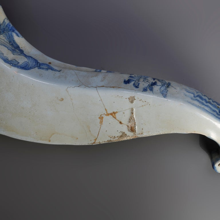 Early Dutch Delft Pottery Cornucopia Form Wall Pockets, 18th Century In Good Condition For Sale In Big Flats, NY