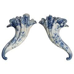 Early Dutch Delft Pottery Cornucopia Form Wall Pockets, 18th Century