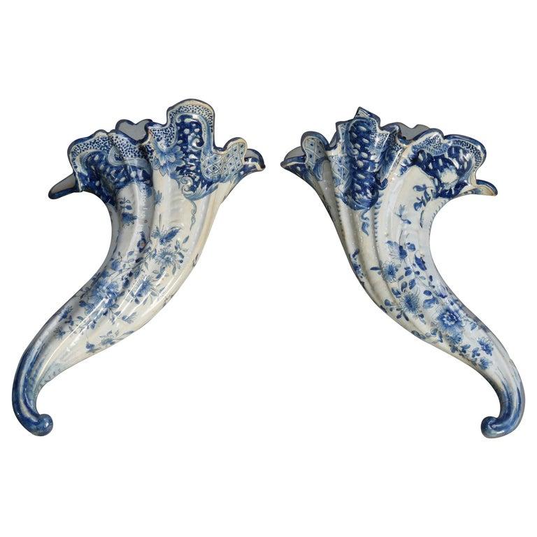 Early Dutch Delft Pottery Cornucopia Form Wall Pockets, 18th Century For Sale