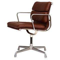 Early Eames EA208 Aluminum Softpad Chair in Dark Tan Leather, circa 1970
