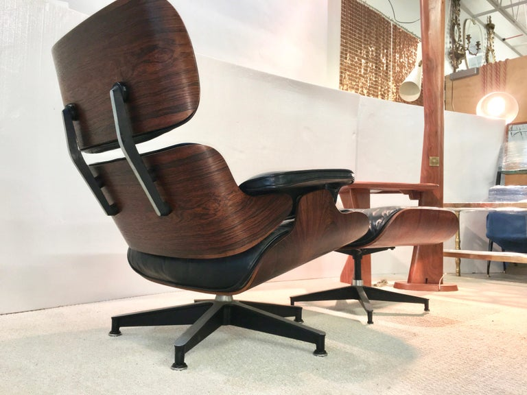 Aluminum Early Eames Lounge Chair and Ottoman by Herman Miller