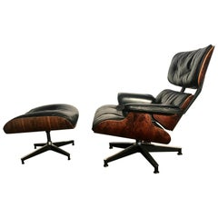 Early Eames Rosewood and Leather Lounge Chair and Ottoman, Herman Miller