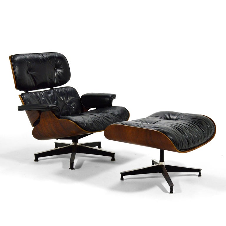 Mid-20th Century Early Eames Rosewood Lounge and Ottoman For Sale