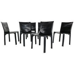 "Early Edition Mario Bellini ""Cab-412"" Set of 6 Leather Chairs for Cassina, 1970"
