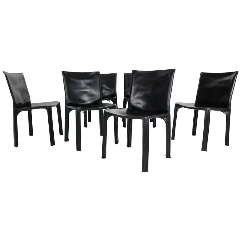 """Early Edition Mario Bellini """"Cab-412"""" Set of 6 Leather Chairs for Cassina, 1970 For Sale"""