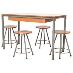 Early Edition Marko Industrial Metal Table and Stool Set