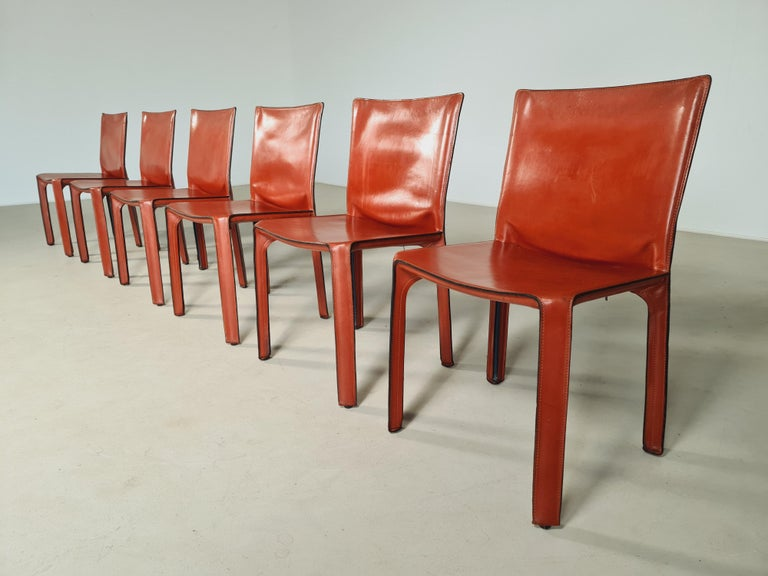 Mid-Century Modern Early Edition Set of 6 CAB 412 Chairs by Mario Bellini for Cassina, 1970 For Sale