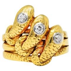 Early Edwardian Diamond 18 Karat Yellow Gold Triple Snake Ring