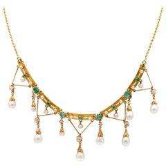 Early Edwardian Rare Diamond Pearl Emerald Swag Necklace, circa 1900