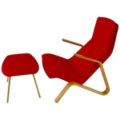 Early Eero Saarinen for HG Knoll Grasshopper Chair in Scarlet Rivington Textile