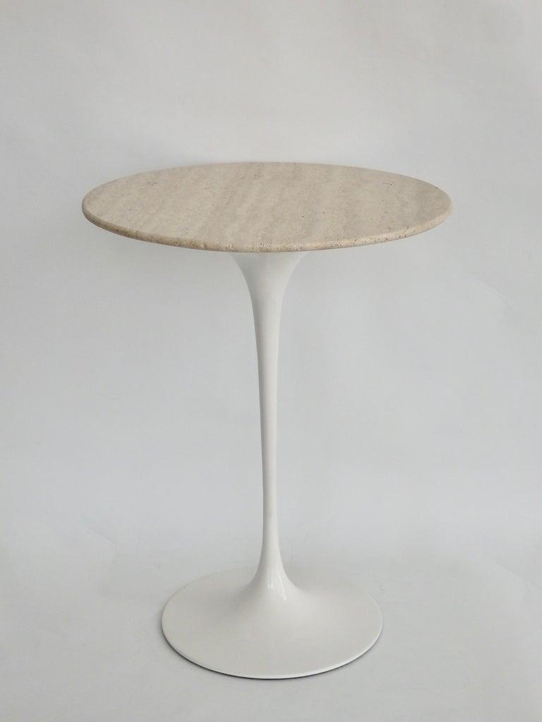 Mid-Century Modern Early Eero Saarinen for Knoll Cast Iron Tulip Table with Custom Travertine Top