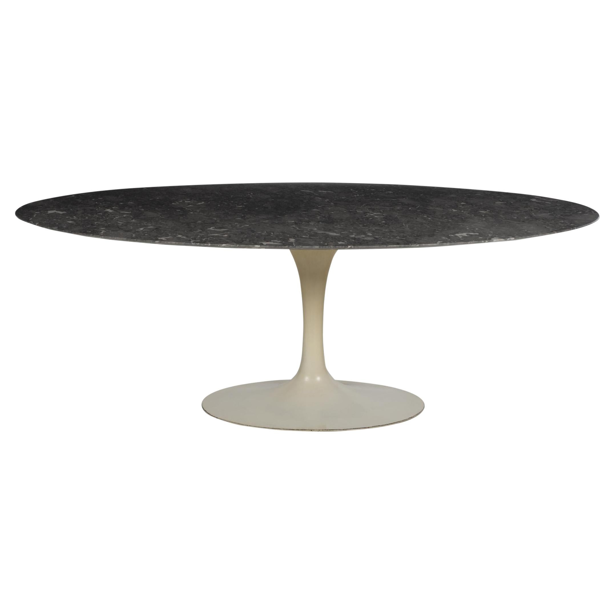 Early Eero Saarinen for Knoll Tulip Table Cast Iron Base, Marble Top