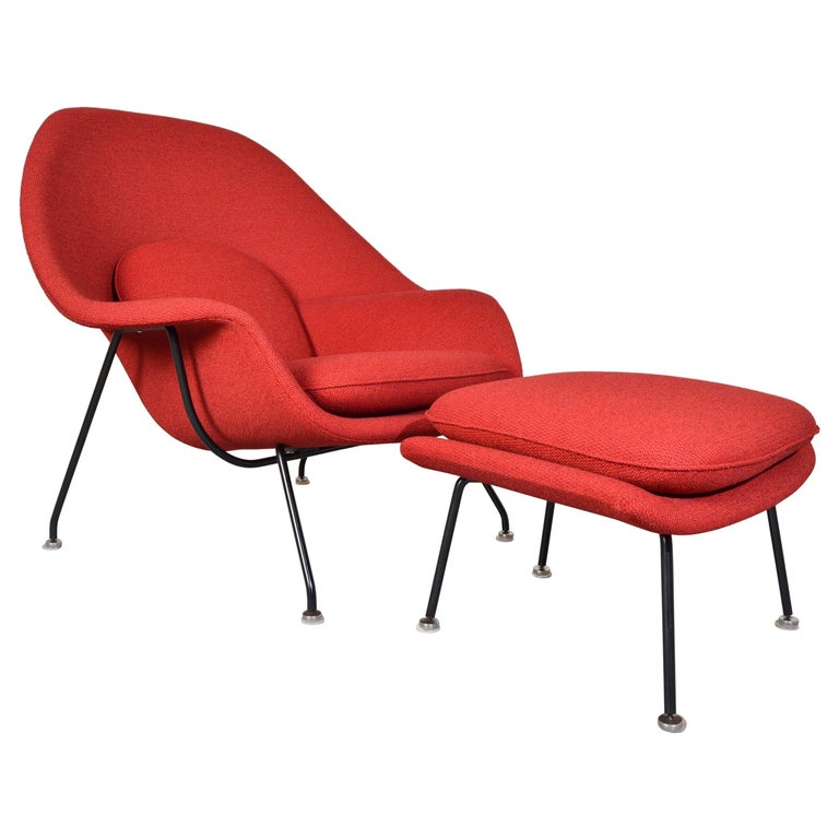 Early Eero Saarinen for Knoll Womb Chair & Ottoman in Knoll Fabric, 1969 For Sale