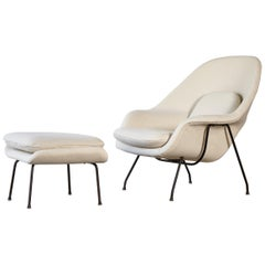 Early Eero Saarinen Womb Chair and Ottoman, Knoll, USA, 1950s-1960s