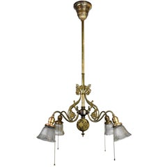 Early Electric Brass Chandelier with Shades