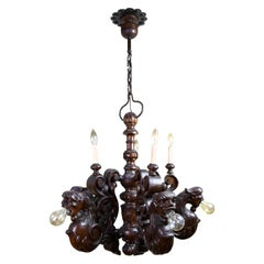 Early Electric Eleven Light Carved Wood Dragon Chandelier