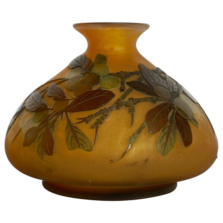 Early Emile Galle Window Pane Cameo Glass Vase For Sale at ...