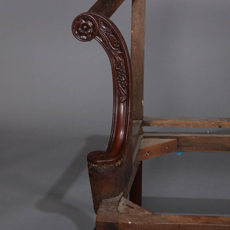 English Floral and Foliate Carved Mahogany Queen Anne Settee Frame ...