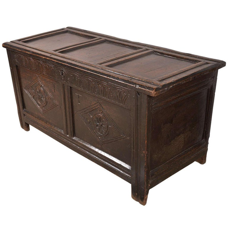 Early English Oak Chest For Sale 4