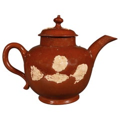 Early English Staffordshire Pottery Redware Teapot, circa 1740-1750