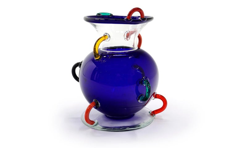 Post-Modern Early Ettore Sottsass Mizar Vase for Memphis Milano, Italy, 1982, Blown Glass For Sale