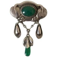 Early Evald Nielsen Silver Brooch Green Stones
