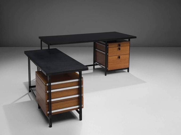 Jules Wabbes, writing desk with drawers, teak, black lacquered metal frame, chrome, Belgium, 1960s  A superb example of an early Belgium executive desk in teak from the 1960s designed by master designer Jules Wabbes. This desk is equipped with a