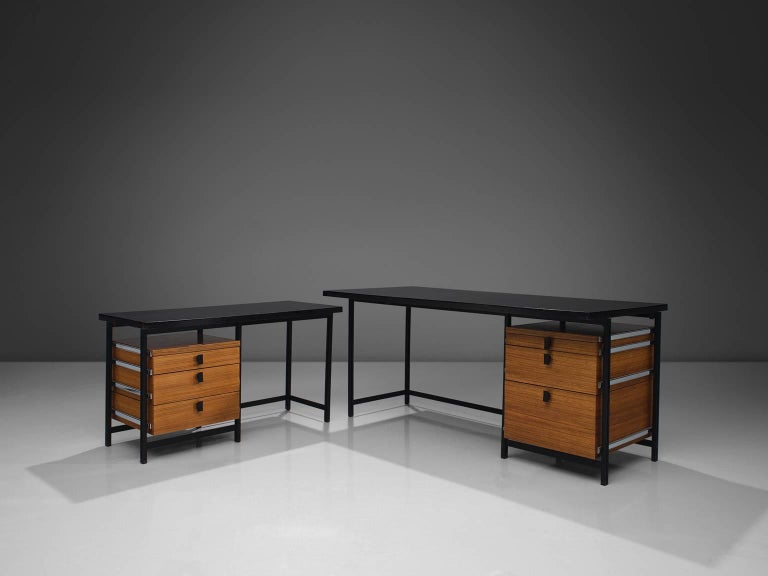 Mid-Century Modern Jules Wabbes Early Executive Desk in Teak and Metal For Sale