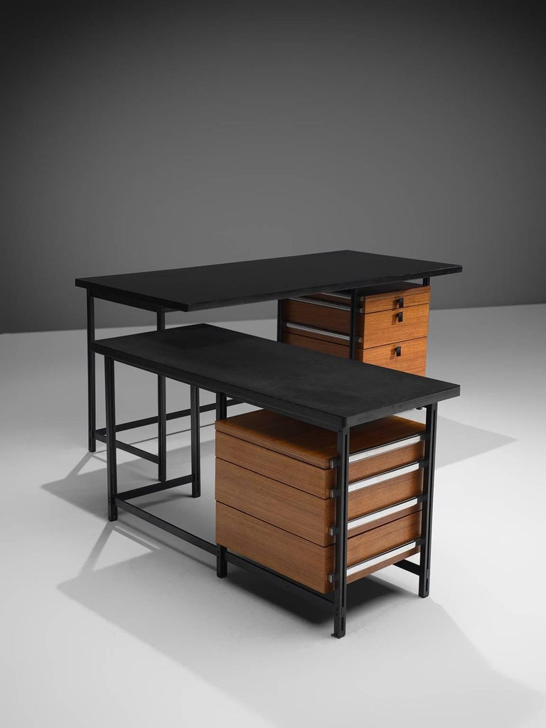 Mid-20th Century Jules Wabbes Early Executive Desk in Teak and Metal For Sale