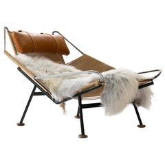 Early Flag Halyard Chair GE225 by Hans Wegner with Wooden Feet, Denmark, 1950