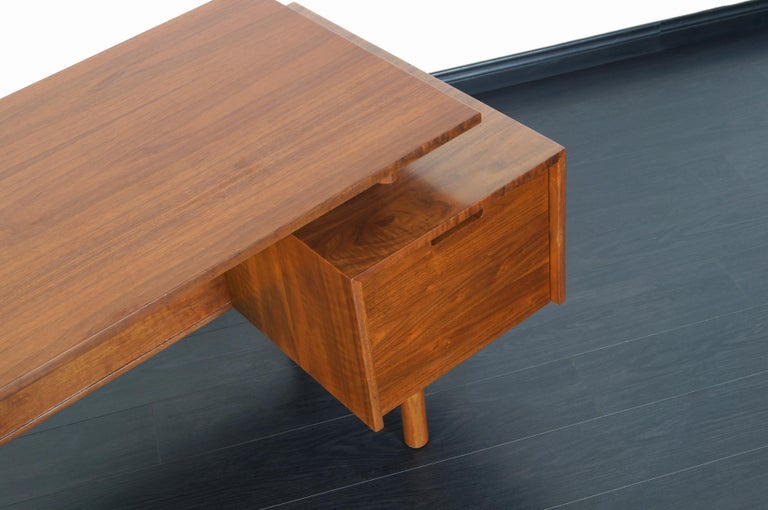 Early Floating Top Walnut Desk by Milo Baughman For Sale 4