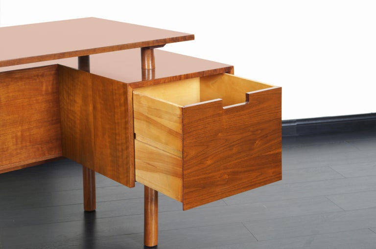 American Early Floating Top Walnut Desk by Milo Baughman For Sale