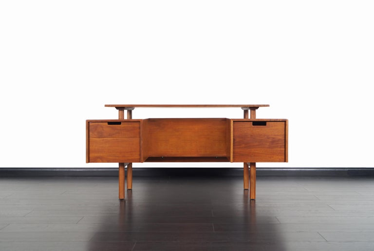 Mid-20th Century Early Floating Top Walnut Desk by Milo Baughman For Sale