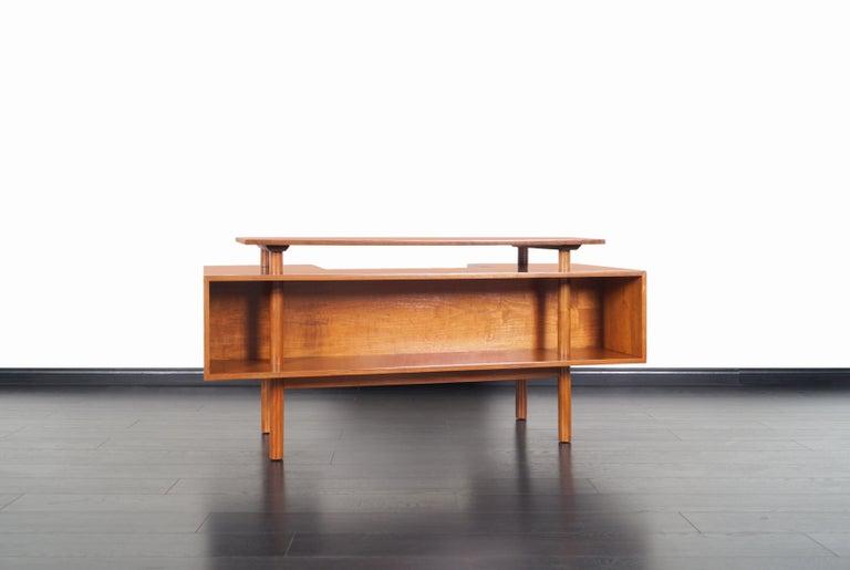 Early Floating Top Walnut Desk by Milo Baughman For Sale 1