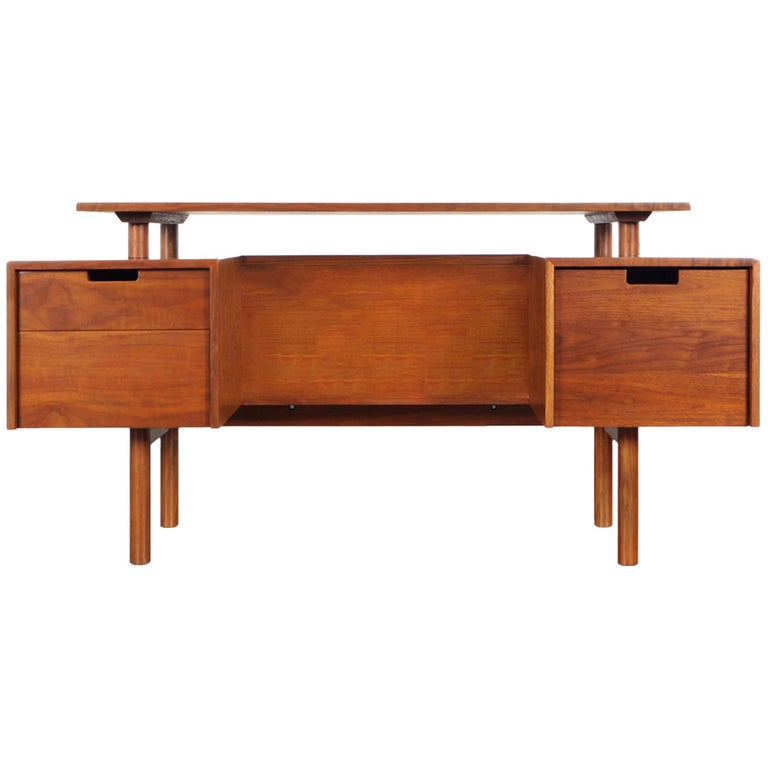 Early Floating Top Walnut Desk by Milo Baughman For Sale