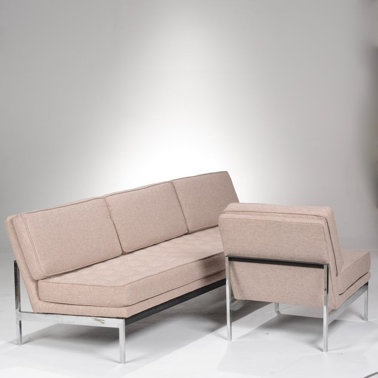 This is an early and rare Knoll sofa and chair set. This sets one and only home was non-other then a Richard Nuetra estate in the Hollywood Hills. New cushions and Upholstery. Designed by Florence Knoll for Knoll. Price is for both items, also sold