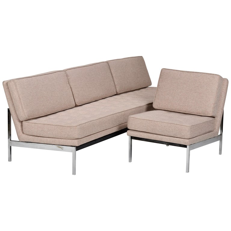 Early Florence Knoll Armless Sofa and Chair Set For Sale