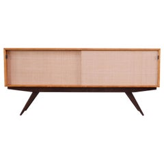 Early Florence Knoll Credenza / Cabinet in Mahogany, Birch, and Grasscloth