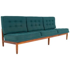 Early Florence Knoll MCM Parallel Bar Walnut and Teal Green Daybed Slipper Sofa
