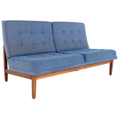 Early Florence Knoll Mid Century Parallel Bar Walnut Blue Settee Love Seat Sofa