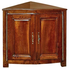 Early French 19th Century Cherry Corner Cabinet with Two Doors