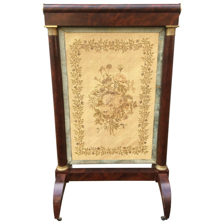 Early French 19th Century Empire Mahogany and Gilt Bronze Firescreen For Sale