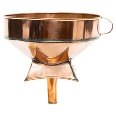 """Early French Copper Wine Barrel Funnel, 13""""H"""