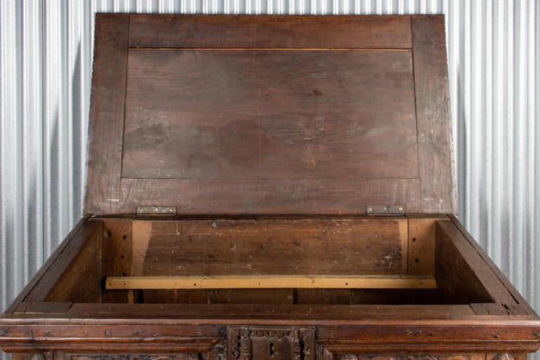 Early French Gothic Wood Trunk For Sale 5