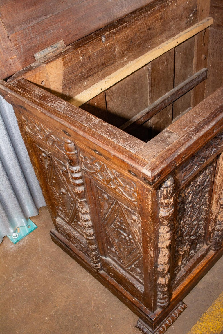 Early French Gothic Wood Trunk For Sale 9