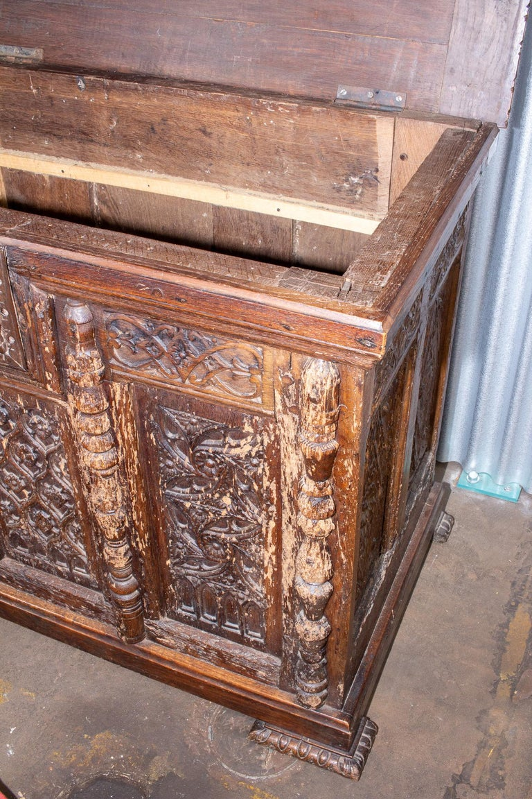 Early French Gothic Wood Trunk For Sale 10