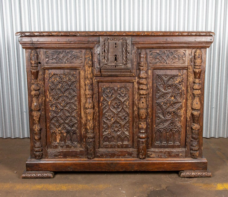 Carved Early French Gothic Wood Trunk For Sale