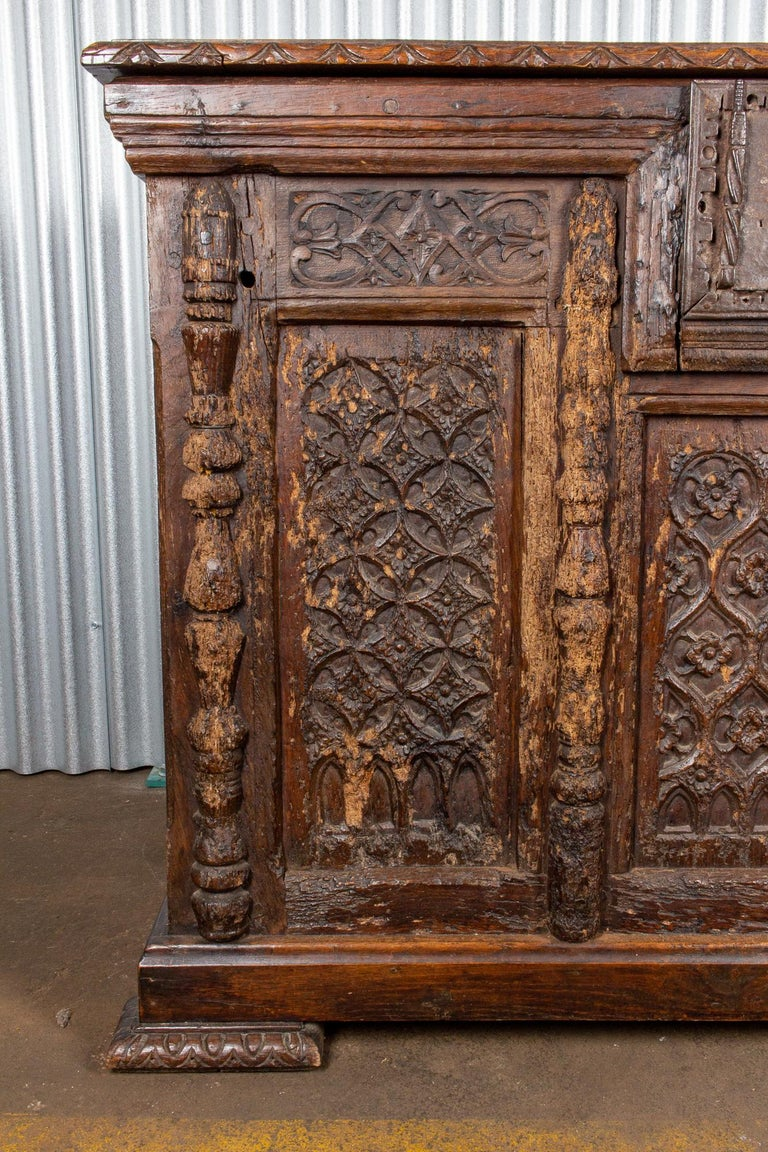 Early French Gothic Wood Trunk In Fair Condition For Sale In Houston, TX